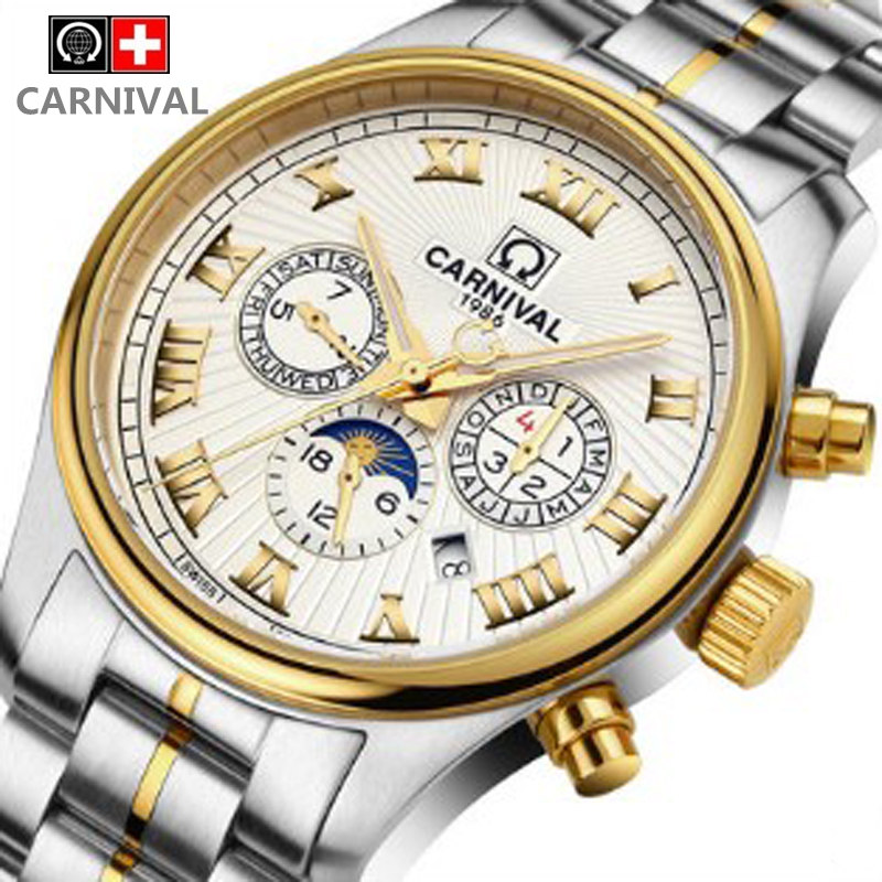 Carnival men's military moon phase mechanical automatic hot sports brand watches full steel waterproof luxury leather watch male carnival military hot automatic mechanical sports brand men watches full steel waterproof fashion luminous luxury watch big dial