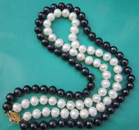 2 Rows AAA 9 10MM SOUTH SEA NATURAL WHITE BLACK PEARL NECKLACE 18 14K GOLD C