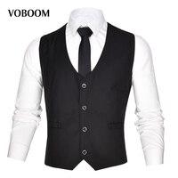 VOBOOM D'affaires Hommes Gilets Costume Sans Manches Mâle Gilet Pour Robes De Mariée Classique Colete Masculino Sociale Blazer 003