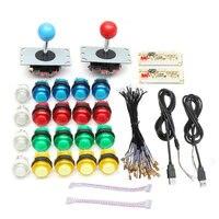 2 Players Arcade DIY Joystick Kits With 20 LED Arcade Buttons 2 Joysticks 2 USB Encoder