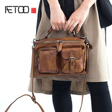 The first layer of leather messenger bag casual soft diagonal retro handbag