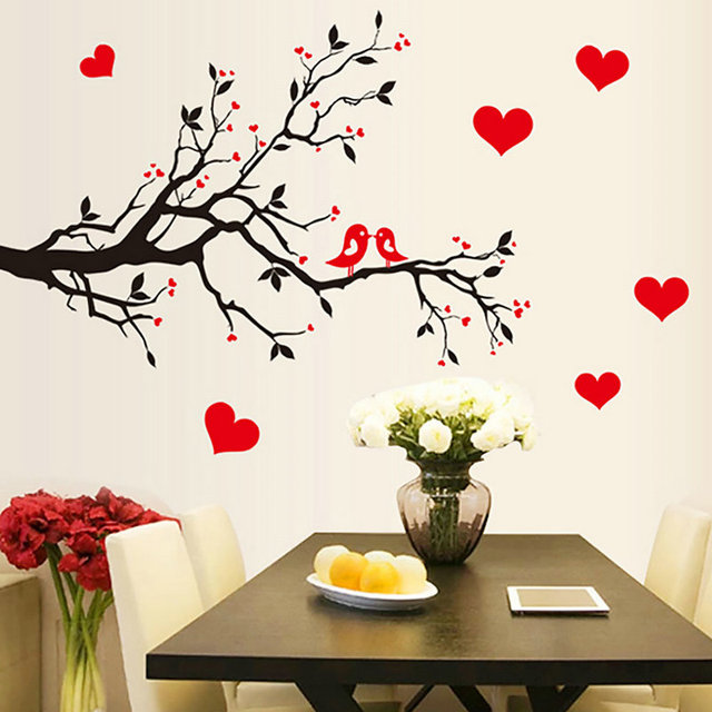 DIY Tree Bird Heart Print Wall Stickers Wall Decor Paper Sticker Color Vision adesivo de parede  sc 1 st  AliExpress.com : diy wall art with paper - www.pureclipart.com