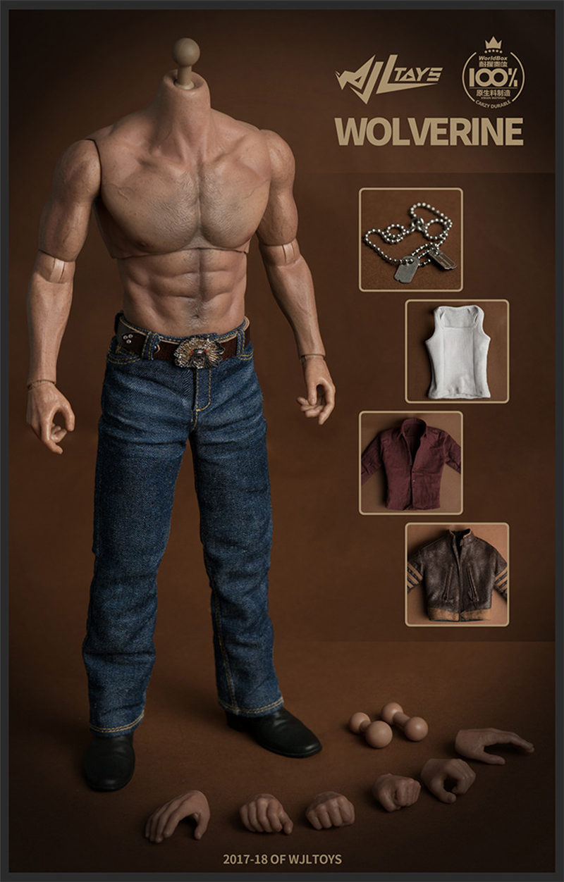1/6 Male Muscle Body Wolverine Logan Figure 31CM with Jackman Clothes Set Fit Logan Head Sculpt