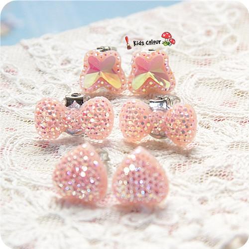 720 New Arrival Dễ Thương Heart/Bow/Bướm Clip Tai Trẻ Em Clip Earrings Girl Resin Clip Tai FD957