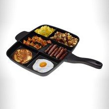 5-In-1 Multi-purpose Steak Frying Pan Barbecue Pot Grid Omelet Dish Black Square Baking Universal