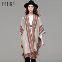 FATIKA Autumn Winter Women Knitwear 2017 New Fashion Shawl Three Quarter Batwing Sleeve Cardigans Striped Tassel