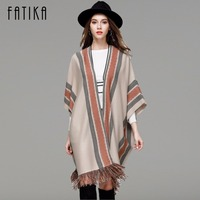 FATIKA Autumn Winter Women Knitwear 2017 New Fashion Shawl Three Quarter Batwing Sleeve Cardigans Striped Tassel