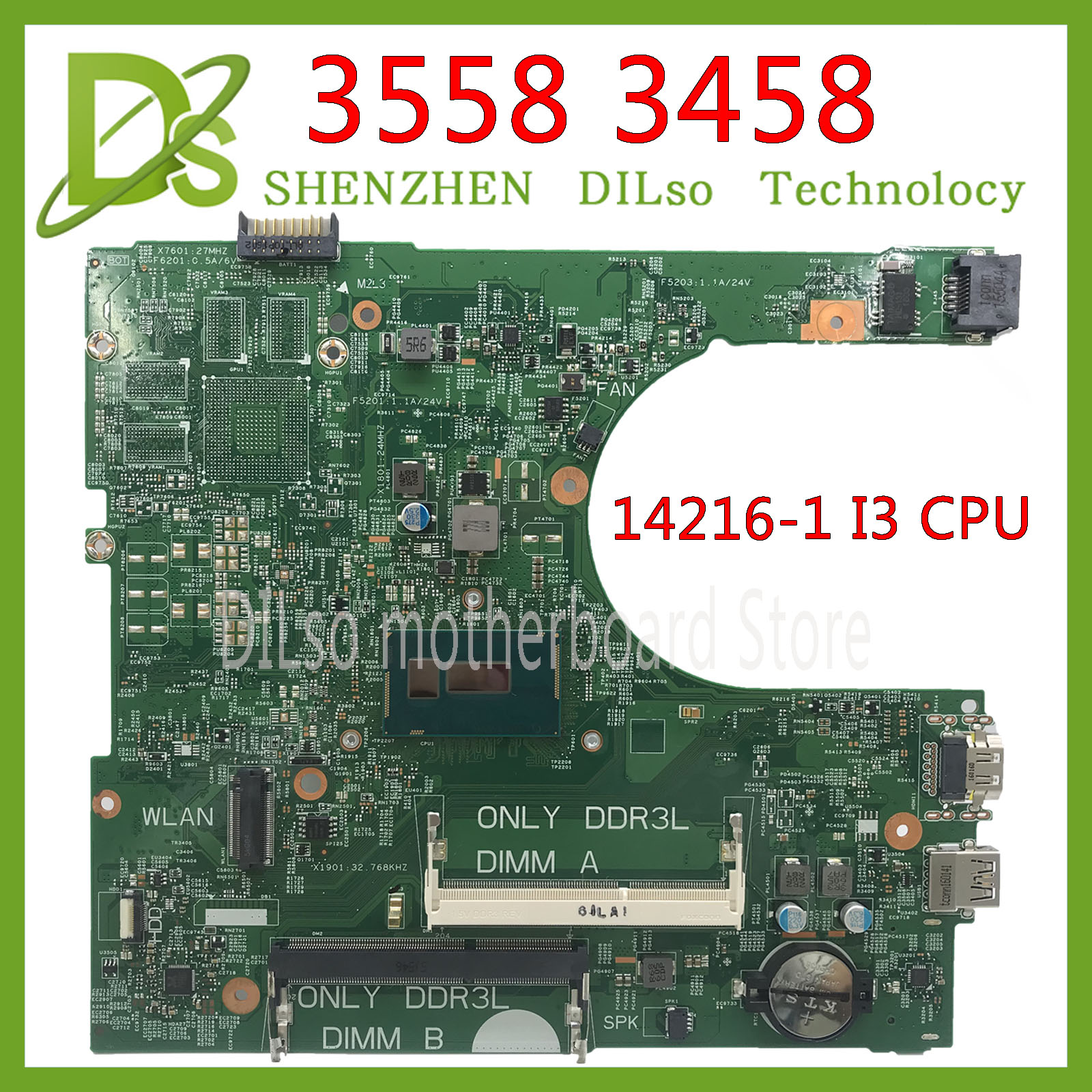 KEFU 14216-1 CN-0CW4DH  For Dell Inspiron 3558 3458 Motherboard I3 Cpu 14216-1 PWB:1XVKN REV:A00 Original Test 100% Work