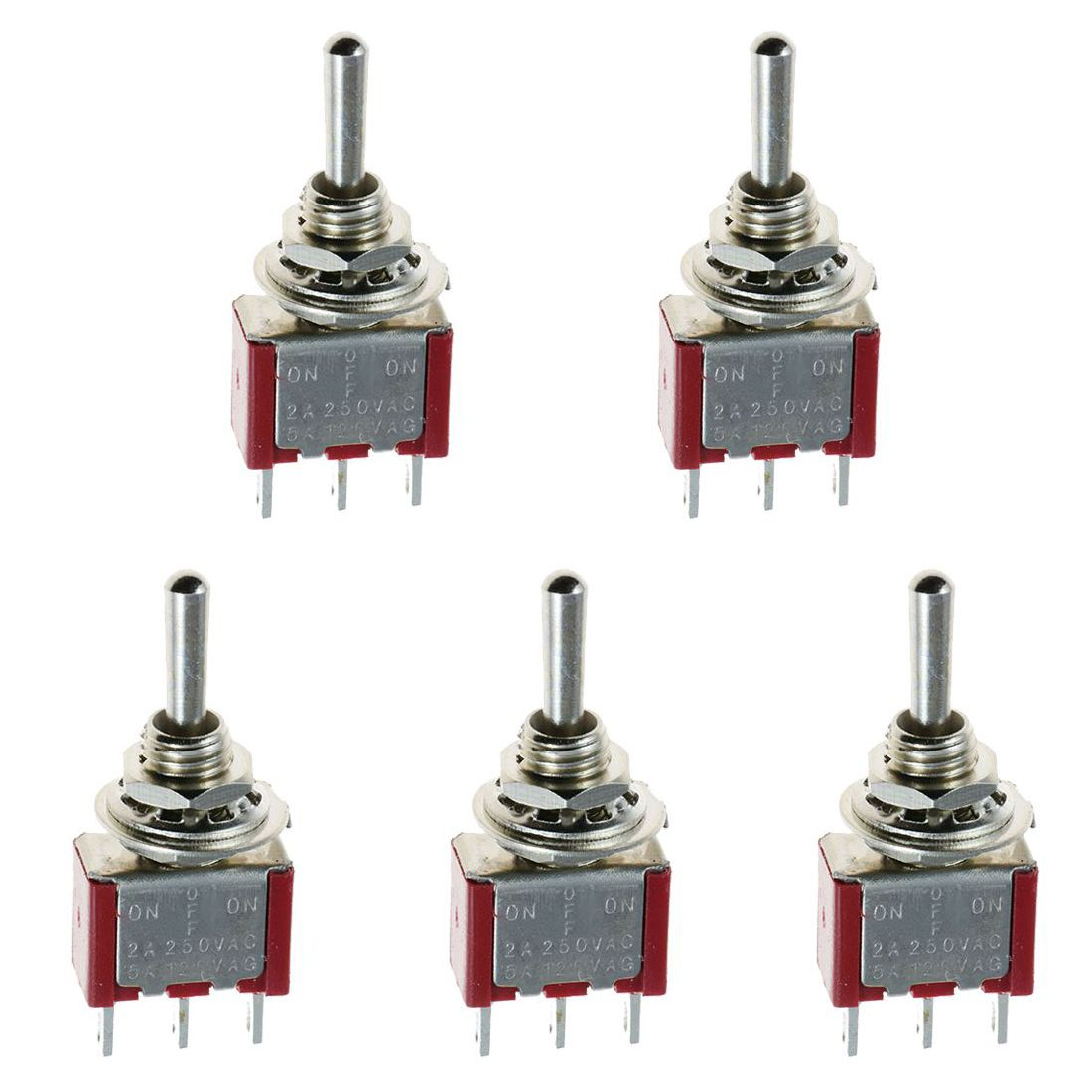 New 5 X Mini Momentary (On)Off(On) Toggle Switch Model Railway SPDT 12V,silver