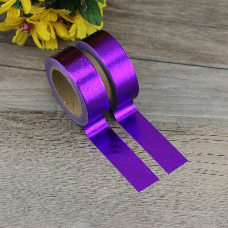 2PCS/lot Decorative Purple Solid Golden Foil Washi Tape Paper For Scrapbook Bullet Journal Adhesive Tape 15mmx10m School Supply