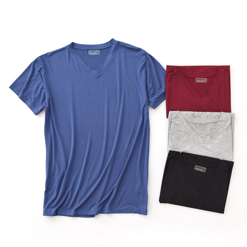 Men's Modal Short Sleeve Sleep Top Shirt V-collar Loose Mens Sleepshirt Solid Sleepshirt Knitted Sleepwear Home Tops