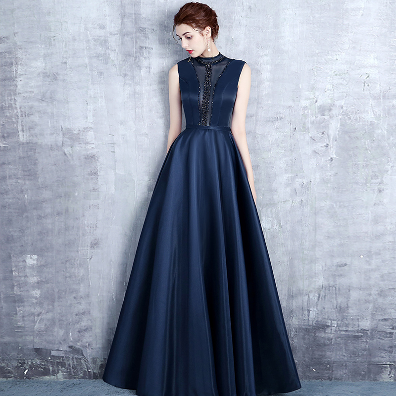 Sequins Beading Evening Dresses A line Satin High Neck Navy Blue Long Formal Prom Party Dress