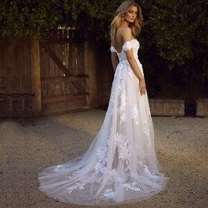 Image 2 - תחרה שמלות כלה 2020 כבוי כתף אפליקציות קו הכלה שמלת נסיכת Boho חתונה שמלת משלוח חינם גלימת דה mariee