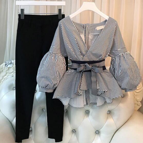4XL 2018 Elegant Women Office Lady Striped Bow Tie Pants Suit Causal Women Lantern Sleeves Tops+Split Pencil Pant Set Plus Size
