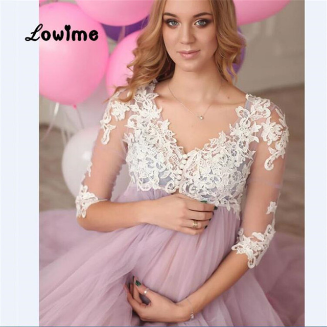 Sexy Burgundy Long Pink Plus Size Pregnant Lace Prom Dress Half ...