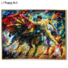Bullfighting Oil Painting Hand Painted Spain Warrior Gladiator Landscape Spanish Bullfighter Picture for Home Decor