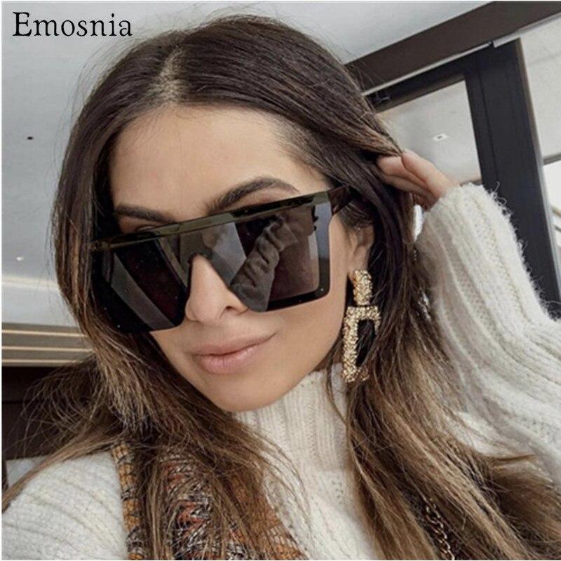 Emosnia Vintage Ovesized lunettes de soleil femmes nuances marque de luxe sans monture carré lunettes de soleil pour hommes noir Dames