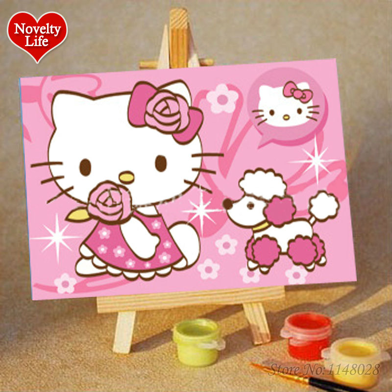 ツ)_/¯DIY Small Frame Picture Painting By Numbers Kitty Cat Girl ...