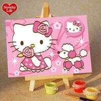 DIY pequeño Marcos cuadro pintura por números muchacha del gato del gatito niños Decoración para el hogar pintura al óleo de la lona niños cama Sala pared arte