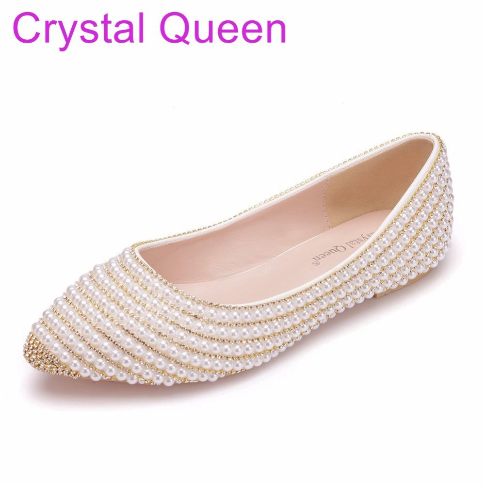 Crystal Queen Pearls Bridal Wedding Shoes Women Flats Ballet Flats Wedding Bridal Shoes Plus Size Pointed Toe Bridal Flats