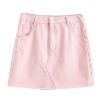 CAYA BOX Pink Jeans Skirt Shorts Candy Colors Short Porket Women Mini Denim Skirt 2017 Spring