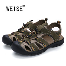 WEISE Free shipping 2016 Summer New Large Size Men'S Leather Sandals Men Sandals Fashion Sandals And Slippers EU38-46
