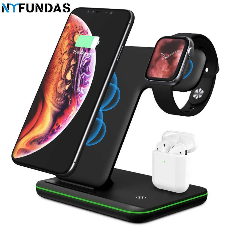 NYFundas 15 W bezprzewodowy uchwyt stacja 3 W 1 szybka ładowarka dla Apple Watch Series 4 3 2 Iphone XS MAX XR 8 Plus X ja Watch AirPods