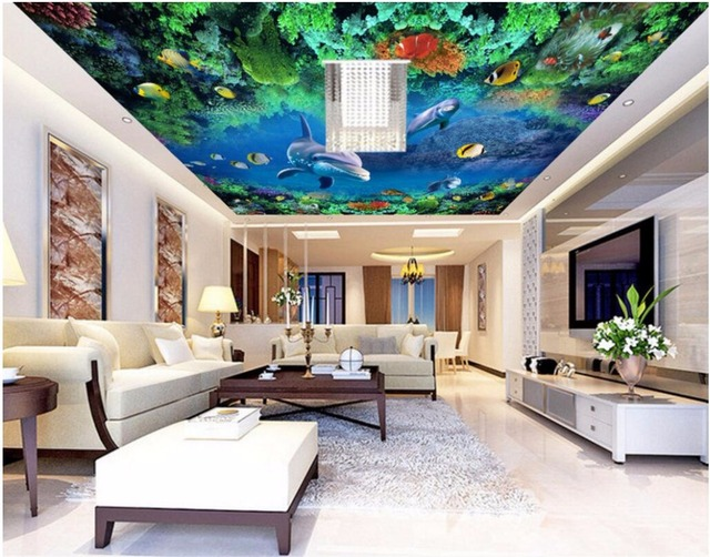 Custom photo 3d ceiling murals wall paper water world dolphins coral decor painting 3d wall murals