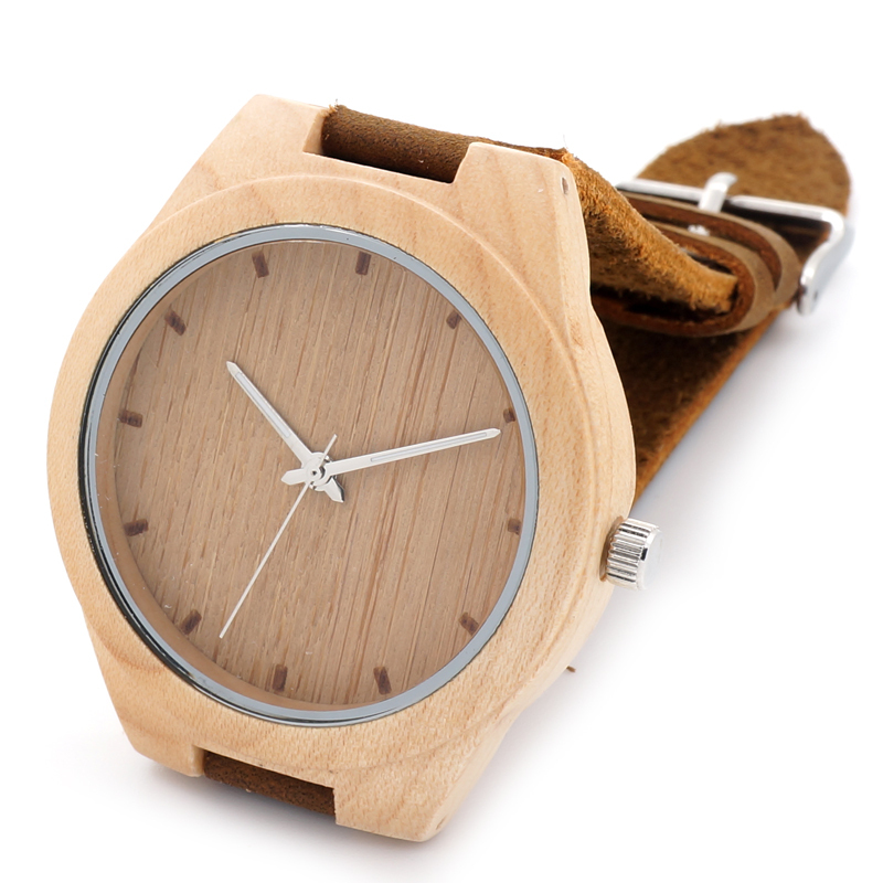 BOBO BIRD Men Wood Watch with Genuine Leader Strap Luxury Wooden Watches Japan Move 2035 Quartz Watches as Gifts C-F10