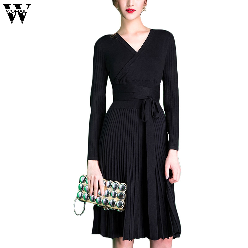 2018 Autumn Sexy Long-sleeved V-neck Dress Women Knee-Length Elegant Bow Waist Fold Pleated Knit Office Dress Vestido oct9 m30