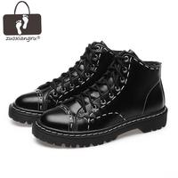 Zuoxiangru Autumn Big Size Square Heel Round Toe Split Leather Men Ankle Boots For Men Low Heel Leather Short Boots