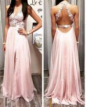 Rosa Chiffon A-linie Abendkleider 2015 Sexy V-ausschnitt Appliques Abendkleid Breite Bügel in der Rückseite Leg Slit Lange Party Kleider