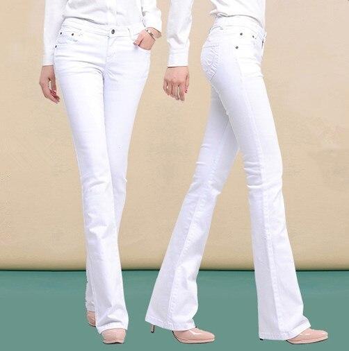 Autunno della molla Delle Signore A Vita Alta Skinny Jeans a Zampa Coreano di Stirata Svasati Boot Cut Jeans Delle Donne Nero Bianco Bell Bottom Pantaloni