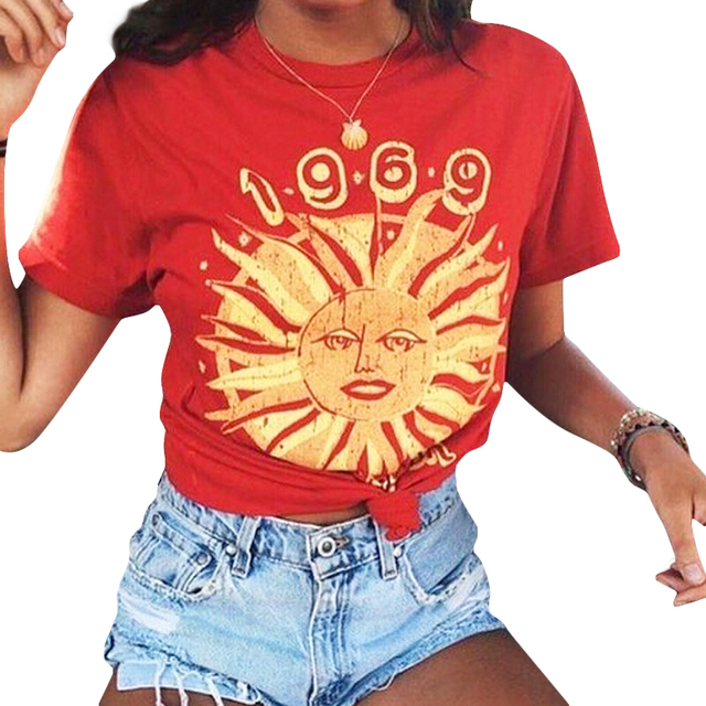 221491cfec22 1969 Summer Of The Sun Letters Printed T-Shirt Women Loose Casual Red  Graphic Tees Comfy Cotton T-Shirt