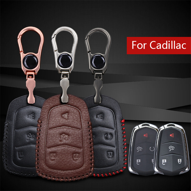 Genuine Leather Car Smart Key shell Case Cover For Cadillac Escalade Srx Cts Xt5 ATS BLS Car Emblem Key Chain Holder