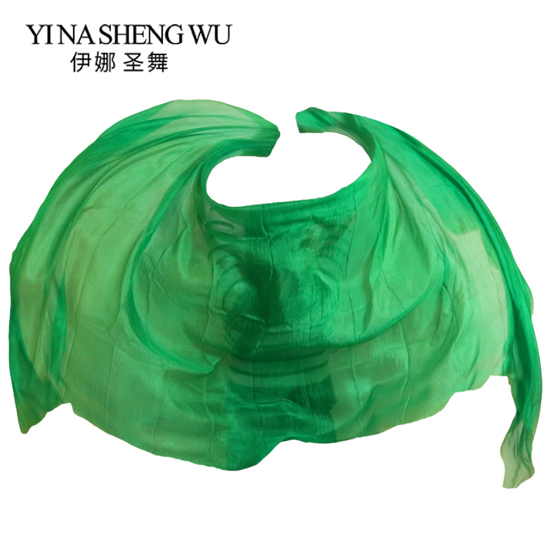 Pure Green Color Belly Dance Silk Veil 250/270*114 Cm Scarf Shawl Belly Dancer Accessory Belly Dance Practice Performance Props