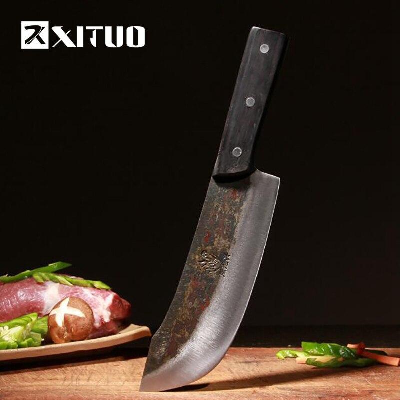 XITUO starej kuchni nóż ręcznie kute nóż szefa kuchni klip ze stali manganu nóż ze stali węglowej żelaza kuchnia narzędzi gospodarstwa domowego CN uboju w Noże kuchenne od Dom i ogród na  Grupa 1