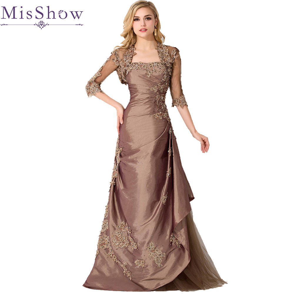 US $127.82 41% OFF|Elegant Brown Plus Size Mother Of The Bride Dresses With  Lace Jacket Strapless Mermaid Long Mother Evening Gowns Half Sleeves-in ...