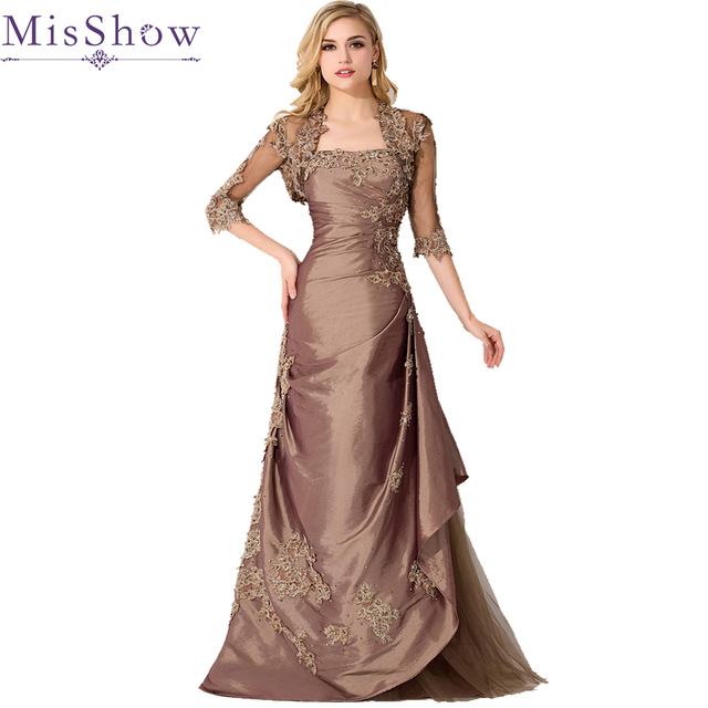 Elegant Brown Plus Size Mother Of The Bride Dresses With Lace Jacket ...