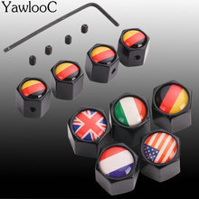 4Pcs/Lot Flag Car Sport Logo Wheel Tire Valve Stem Air Caps Styling Stainless Steel For France USA Germany Italy Britain