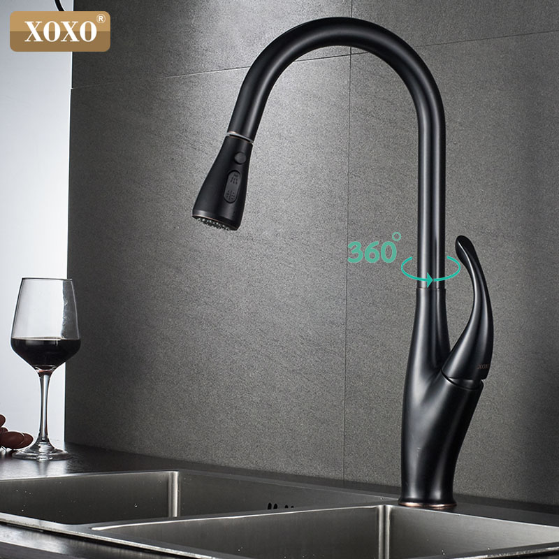 XOXO Kitchen Faucets black Single Handle Pull Out Kitchen Tap Single Hole Handle Swivel 360 Degree Water Mixer Tap Luxvry design newly arrived pull out kitchen faucet gold sink mixer tap 360 degree rotation torneira cozinha mixer taps kitchen tap