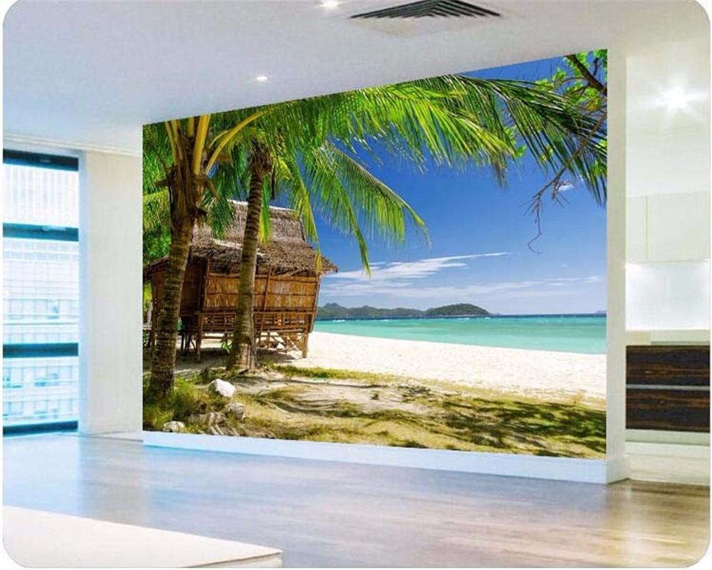 Beibehang Large Custom Wallpapers 3d Hd Seaview Rocks: Beibehang Custom Wallpaper Photo Coconut Tree Beach Chalet