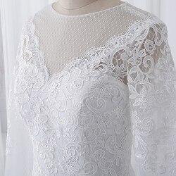 wuzhiyi vestido de noiva Boat neck wedding dresses lace applique wedding gown Zipper back buttons marriage Gown robe de soiree 2