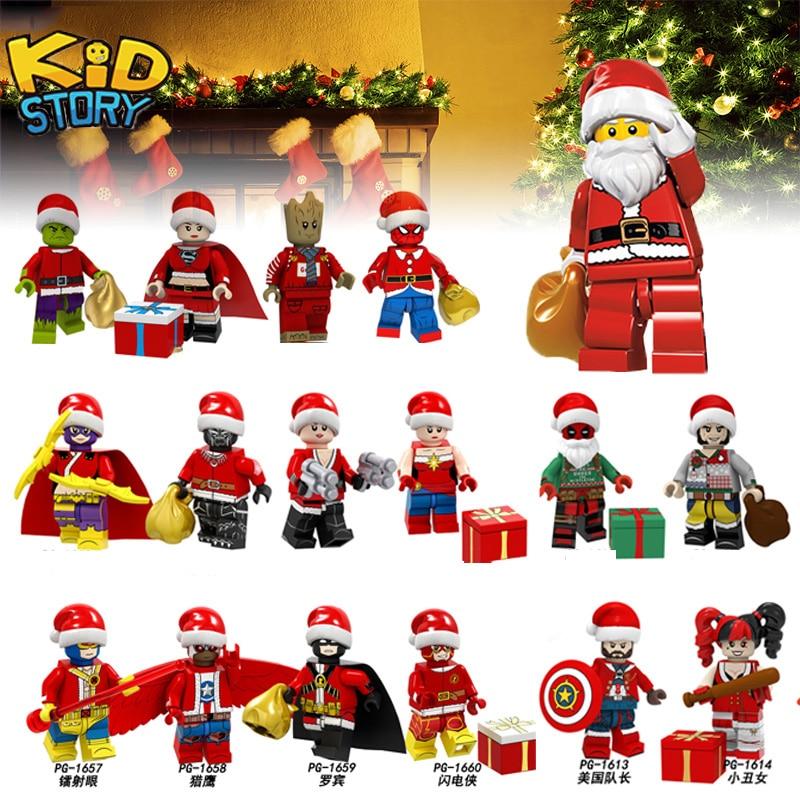 Legoing Christmas Deadpool StarWars festival Gift Joker Harley Quinn Grinch Groot Building Blocks Model toys for kids Figures YF