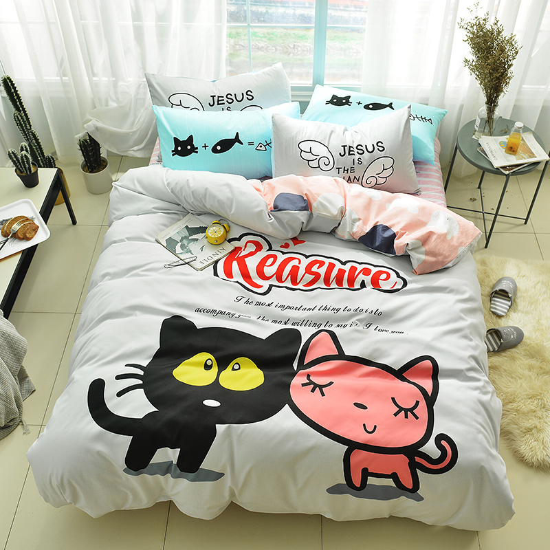 Two kittens print Cartoon style bedding set cotton fabric 3/4pcs Twin Queen Size duvet cover flat sheet pillowcaseTwo kittens print Cartoon style bedding set cotton fabric 3/4pcs Twin Queen Size duvet cover flat sheet pillowcase