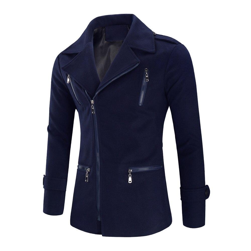 Casual Men's Jacket Warm Winter Trench Long Outwear Button Smart Overcoat Coats Men Warm Winter Wool Coat Erkek Cocuk Mont 5