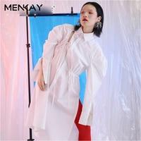 MENKAY Hole Blouses Draw String Lapel Collar Puff Sleeve White Long Women S Shirt 2018