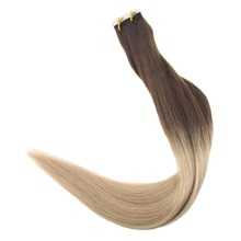Full Shine Tape in Human Hair Extensions Ombre Color #3 Fading to #6 #16 Blonde Extenison 20Pcs 50g Glue on Remy