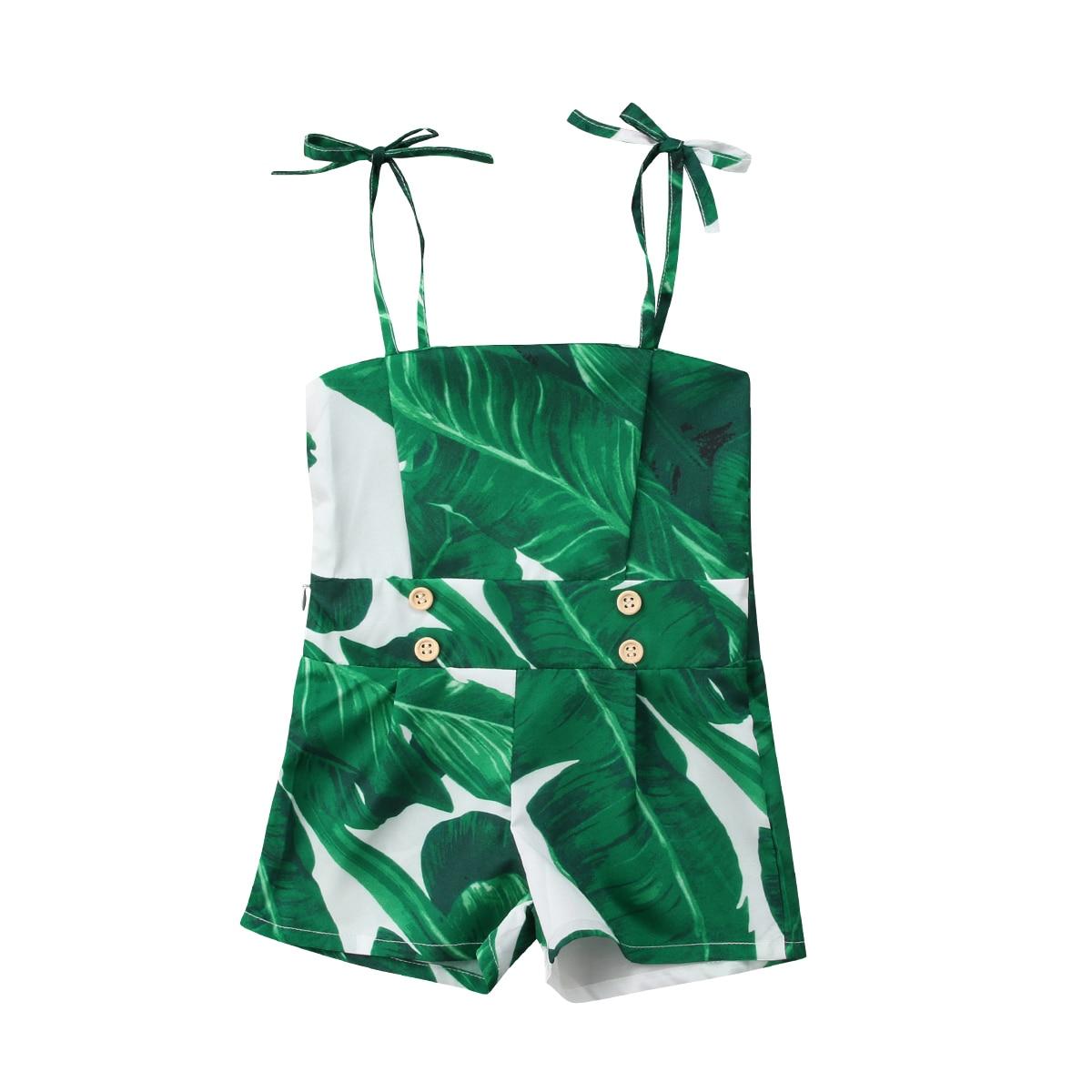 Outfit Romper Newborn Baby-Girl Fashion Summer Green Jumpsuit Leaf-Pattern Off-Shoulder