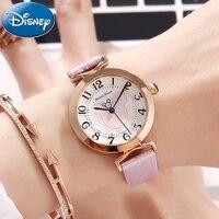 Disney Women Beautiful Top Quality Rhinestone Leather Strap Watches Girls Fashion Casual Quartz Digital Watch Mickey Clock Gift